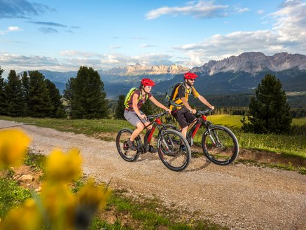 Mountainbiking with panorama of the Dolomites Catinaccio & Latemar